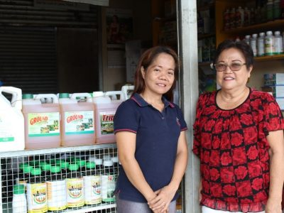 (From left) Current Chair Vivien Dumingsel and former Chair Rebecca Dumingsel of the Taculen Farmers' MPC in Matalam, Cotabato. The coop is one of the lending conduits of the DA-ACPC PLEA with a P4.262 million approved loan allocation benefitting 97 small farmers.
